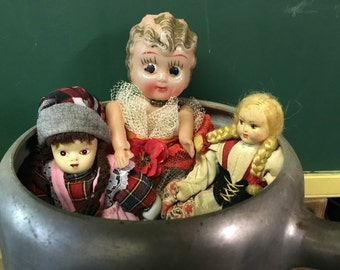 Vintage 3 Doll Trio--Creepy Halloween Doll Decor--Zombie Doll DIY--Vintage Scary Doll--Tattered--Torn--Bride--Blonde Doll--Brunette...