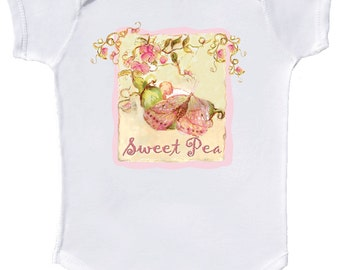 Sweet Pea Baby Girl Bodysuit Infant One Piece Shirt by Mumsy Goose Newborn Bodysuits Great for  Baby Shower