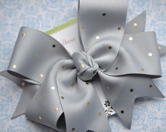Gray with Golden Dots XL Diva Bow