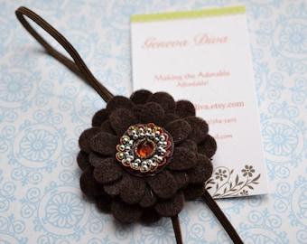 Chocolate Brown Felt Flower Stretch Headband