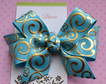 Turquoise with Golden Swirls Classic Diva Bow