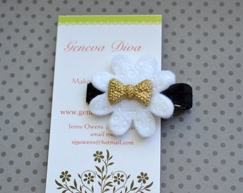 Gold and Black Glittery Bow Felt Flower Clip