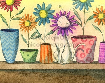 Original 5x7 Watercolor Painting and Ink Drawing -- Be the flower