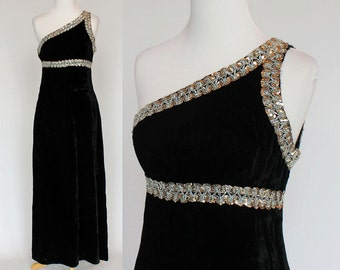 60's Black Velvet Gown / Empire Waist Evening Gown / One Shoulder / XSmall to Small