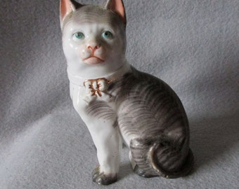 Rare 19thC Victorian Figurine of a Striped Cat German or English