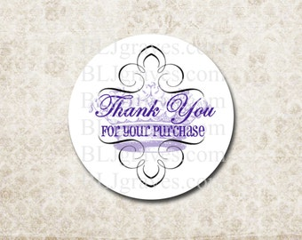 Custom Stickers Thank You For Your Purchase Purple French Crown Business Supplies SP033
