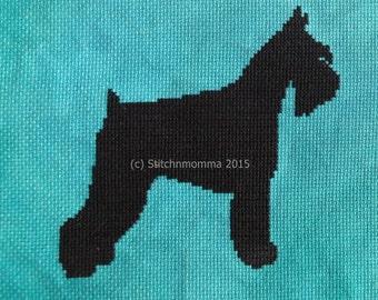 1401 Schnauzer Dog Silhouette - Original Design Cross Stitch PDF Pattern - DIGITAL DOWNLOAD