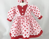 Fits American Girl 18 Inch dolls Valentine Long Sleeved Dress Argyle and Pink and Red Hearts Matching Hair Bow