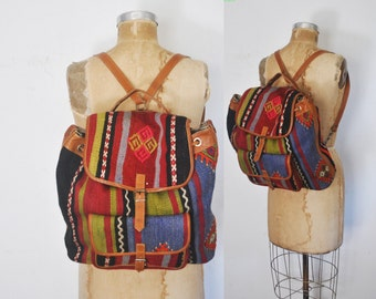Tribal Kilim Bag / Brown Leather Backpack Bookbag