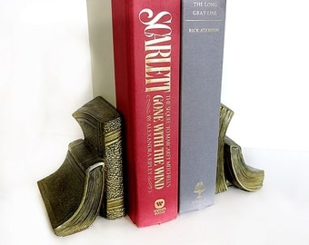 Brass Book Bookends PM Craftsman Made in USA Vintage 1970s 80s Library Decor