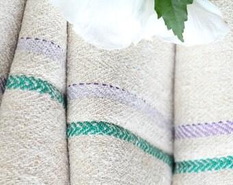 R 313 antique hemp linen GREEN LILAC upholstery 6.12 yards bathmat handloomed benchcushion 캔버스 자루 Beachhouse look