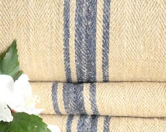 R 394antique hemp linen WATER BLUE upholstery 25.79yards handloomed benchcushion 캔버스 자루 Beachhouse look