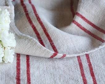 B 262:  antique FRENCH RED grain sack upholstery fabric 22.83 wide bathmat WEDDING decor cushion french lin 천