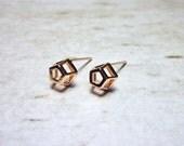 Pentagon Stud Earrings, Dainty Earrings - Rose Gold