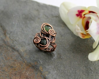 Double Stone Ring - Woven Copper wire with Faceted Green Tourmaline - copper wire woven ring