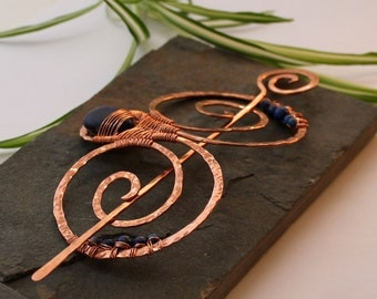 Embellished Double Spiral Hair Barrette - Copper and Lapis Lazuli - Hair clip