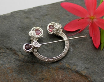 Penannular Brooch - Woven Sterling silver and faceted Pink Tourmaline - Sterling silver brooch - Celtic brooch