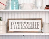 "PATISSERIE Hand Painted Sign, Wooden With Trim, 18""x7"" Vintage Inspired, Blogger, Gallery Wall, Kitchen"