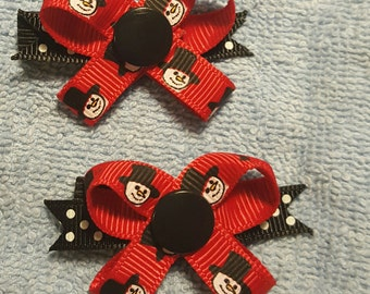 Tophat Snowman SNAP N GO Dog Bows - Set of 2