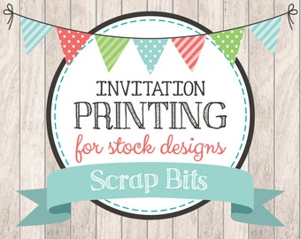 Printing Service for Fill-In Invitations from Stock Designs (Qty. 8)