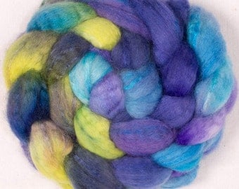 Hand dyed roving, BFL Tussah silk,  Extra Soft fibre, Hand painted roving, felting, hand dyed top,spinning wool, Colour; - Dark Secret