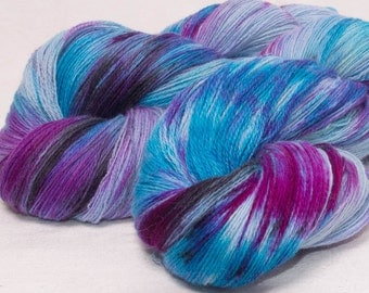 Hand dyed yarn, laceweight yarn, Angora Merino lambswool yarn, 100g skein,  knitting, crochet, colour;Eccentricity