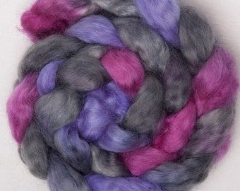 Hand dyed roving, Teeswater, Tussah Silk, British rare Breed,  hand painted tops, roving, spin, felt, colour; Twilight 100g