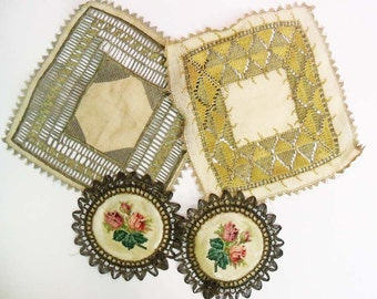 4 Antique Doilies with Metallic Thread Lace Embroidery Embroidered vintage floral flowers linen