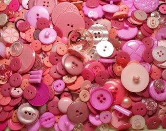 Bulk Lot, 500 Pink Buttons, Lot PNK-1 (Free US Shipping)