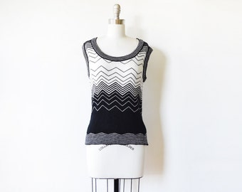 vintage chevron sweater, 70s black and white sweater vest, knit tank top, extra small sm