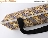 Yoga Mat Bag with Zipper in Autumn Leaves - Purple, Yellow, White and Gray with POCKET