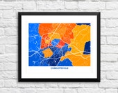 Charlottesville VA Art Map Print.  Color Options and Size Options Available.  Perfect for your favorite University of Virginia Cavalier.