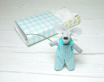 The mouse in a matchbox kawaii plush light blue stripes  felt stuffed animal