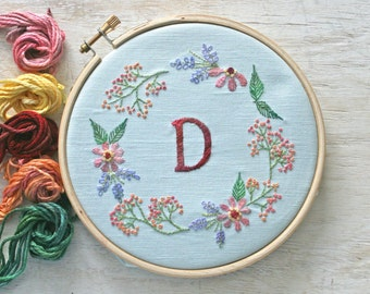Crewel Embroidery Kit Embroidery Pattern Kit monogram flower wreath Digital Pattern instant download tutorial  flower embroidery kit