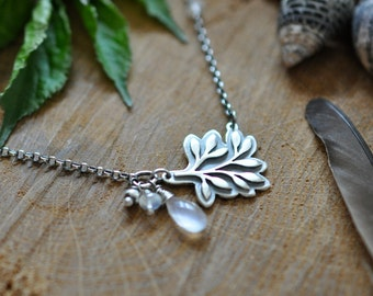 Sterling Rainbow Moonstone Leaf Necklace, Oxidised, Sterling Silver Gemstone Charm Necklace - Growth Necklace in Moonstone