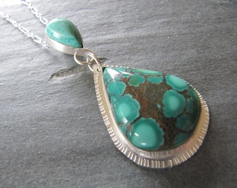 Turquoise and Amazonite Pendant in Sterling Silver