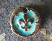 Handmade Rustic Turquoise Boho Fleur De Lis Western Cowgirl Ceramic Clay Pottery