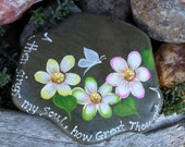 Hand Painted Idaho Rock-Inspirational-Daisy-White Butterfly -Acrylic-Original-Unique