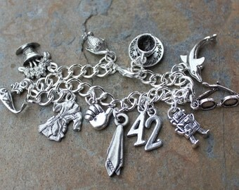 Hitchhiker's Guide to the Galaxy Inspired Silver Charm Bracelet- 42, robe, Marvin, whale, petunias, sunglasses, dolphin, mice, cup of tea
