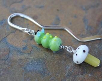 Caterpillar & Mushroom Bookmark - lampwork glass- light green caterpillar, white and yellow mushroom - gift for readers - free shipping USA