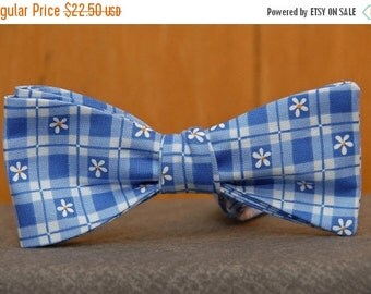 Flowers on Blue Gingham  Bow Tie