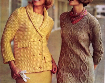 Vintage Knitting Patterns Irish Cable Knit Sweater Dress 3 Piece Classic Suit Pattern Bust Size 32 to 40 Inches Instant PDF Download