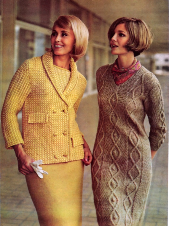 Irish Cable Knit Sweater Patterns : Vintage Knitting Patterns Irish Cable Knit Sweater Dress 3