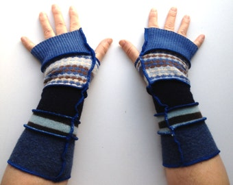 Blue and Brown Recycled Merino and Lambswool Arm Warmers Fingerless Gloves
