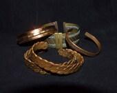 Mixed Metal Cuff Bracelet } fDimpled Copper UK Cuff Bracelet } Genuine Copper Cuff} 2 Twisted Copper Cuffs}