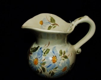 "Blue Ridge Pottery Hand Painted Blue Flower ""SALLY"" Pitcher  j2253"