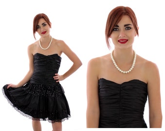 80s Black Party Dress Formal Vintage Tiered Gathered Lace Sequin Prom Cocktail Strapless Sweetheart Bodice 3/4 S Small