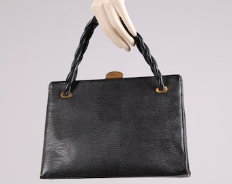 vintage 1950s Grace Kelly purse black leather lizard hand bag red calf lining