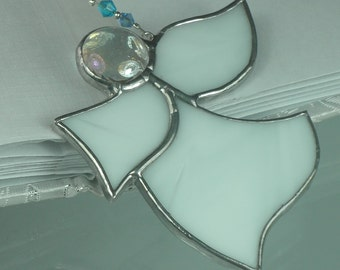 Little White Stained glass Guardian angel Suncatcher Window ornament & Christmas decoration