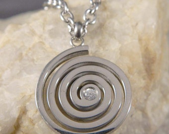 Spiral Stainless Steel Necklace with CZ